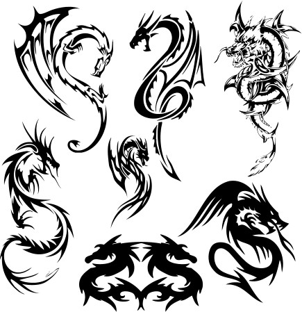 Traditional tribal black-ink dragon tattoo designs