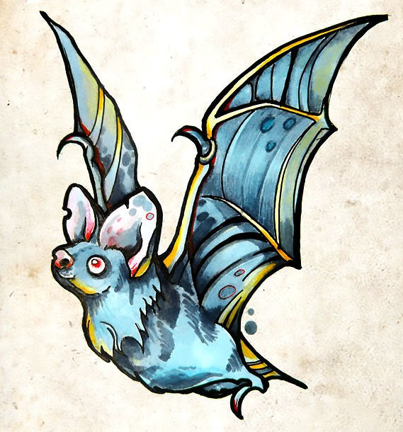 Traditional turquoise flying bat tattoo design