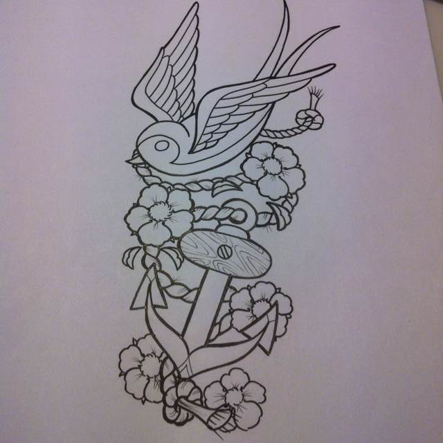 Traditional Uncolored Bird With Flowered Rope And Anchor