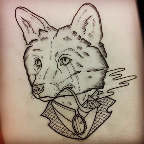 Traditional uncolored crying fox in suit tattoo design