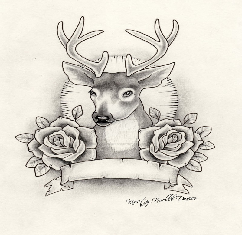 Traditional Uncolored Deer And Roses With Empty Banner Tattoo Design By Kirsty Noelle Davies Tattooimages Biz