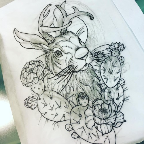 Traditional uncolored horned hare with cactuses tattoo design