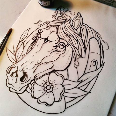 Traditional Uncolored Horse With Horse Shoe Tattoo Design