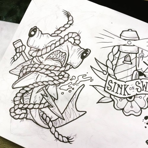 Traditional uncolored hummer shark entwined with rope tattoo design