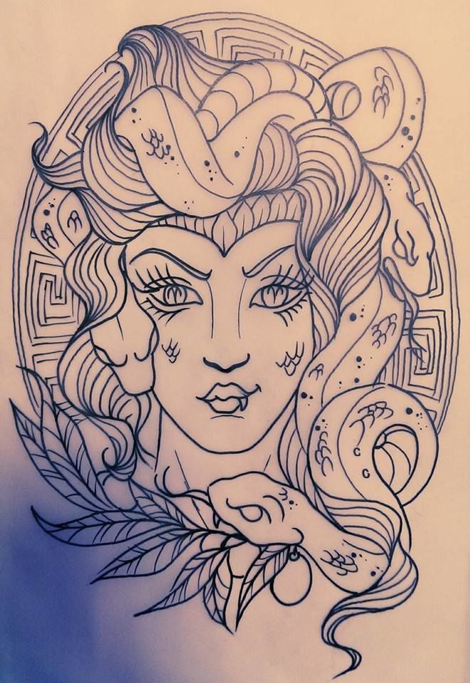 Traditional uncolored medusa gorgona with leaves and patterned background tattoo design