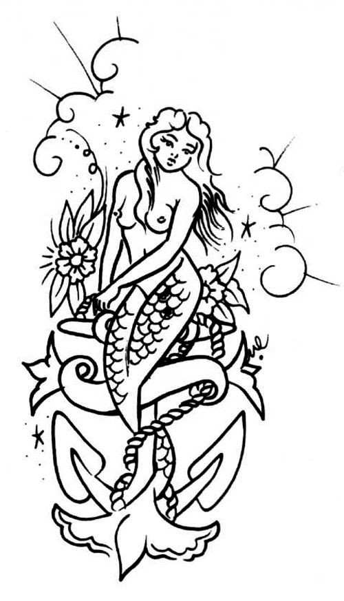 Traditional uncolored mermaid with anchor on cloudy background tattoo design