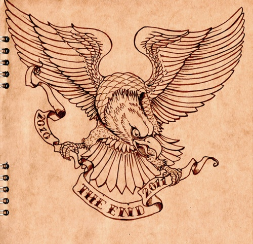 Traditional uncolored new school eagle with quoted banner tattoo design
