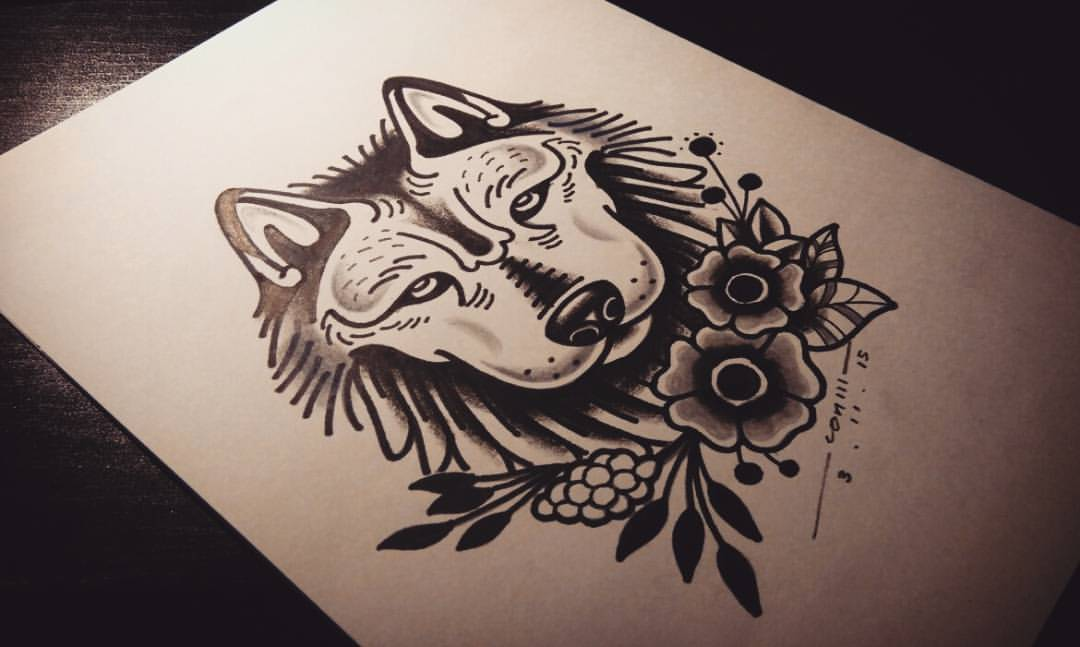 Traditional uncolored old school wolf and flowers tattoo for Traditional old school tattoo designs