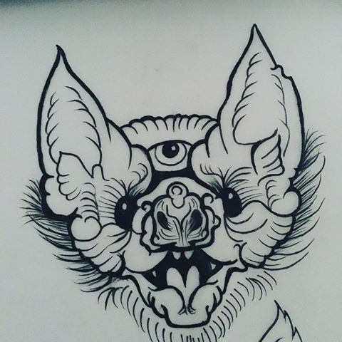 Traditional uncolored three-eyed bat face tattoo design