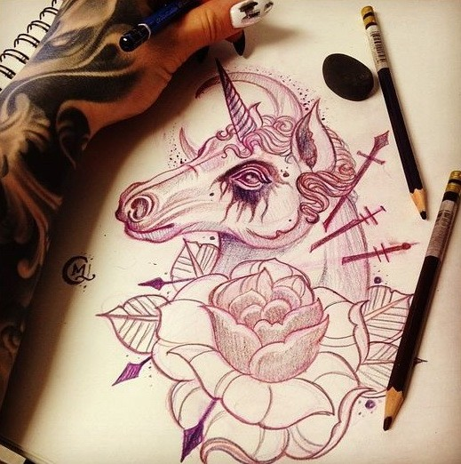 Traditional unicorn portrait with a huge rose bud tattoo design