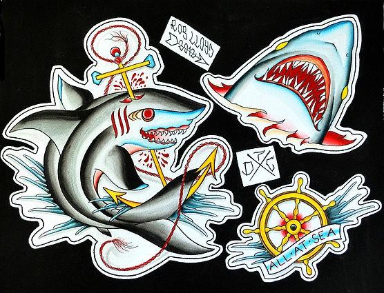 Traditional vivid-color shark tattoo designs