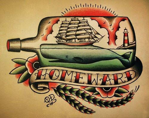 Traditional whale and ship in bottle with banner tattoo design