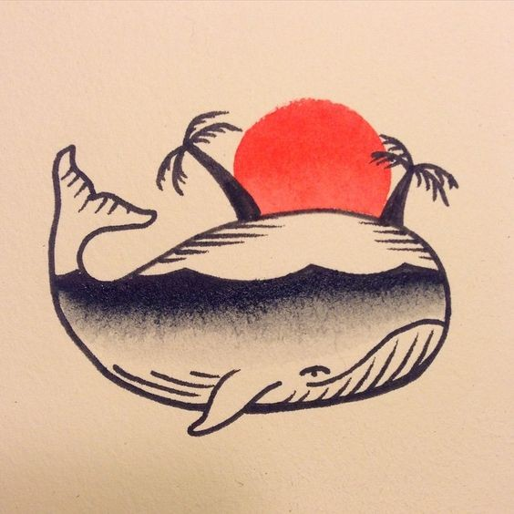 Traditional whale with beach view inside tattoo design