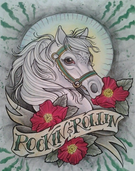 Traditional white horse with red flowers and banner tattoo design