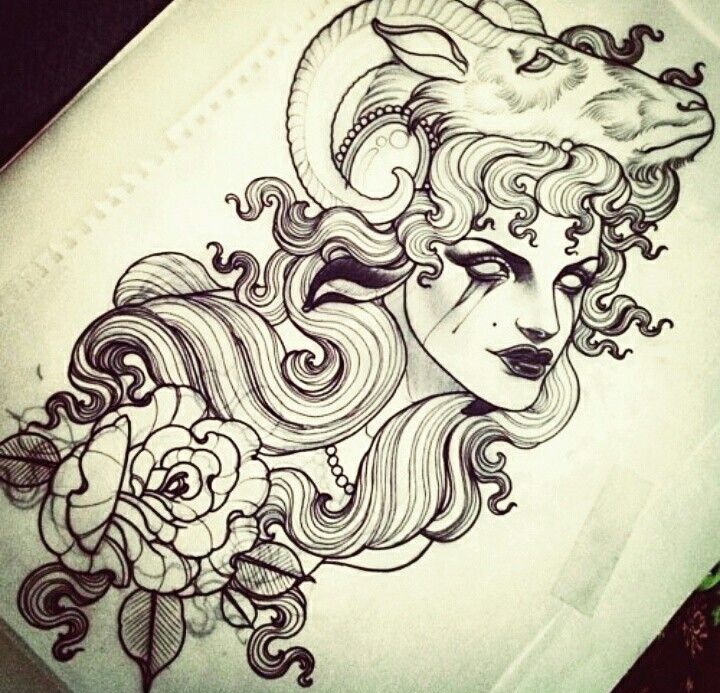 Traditional woman with ram on head and flower tattoo design