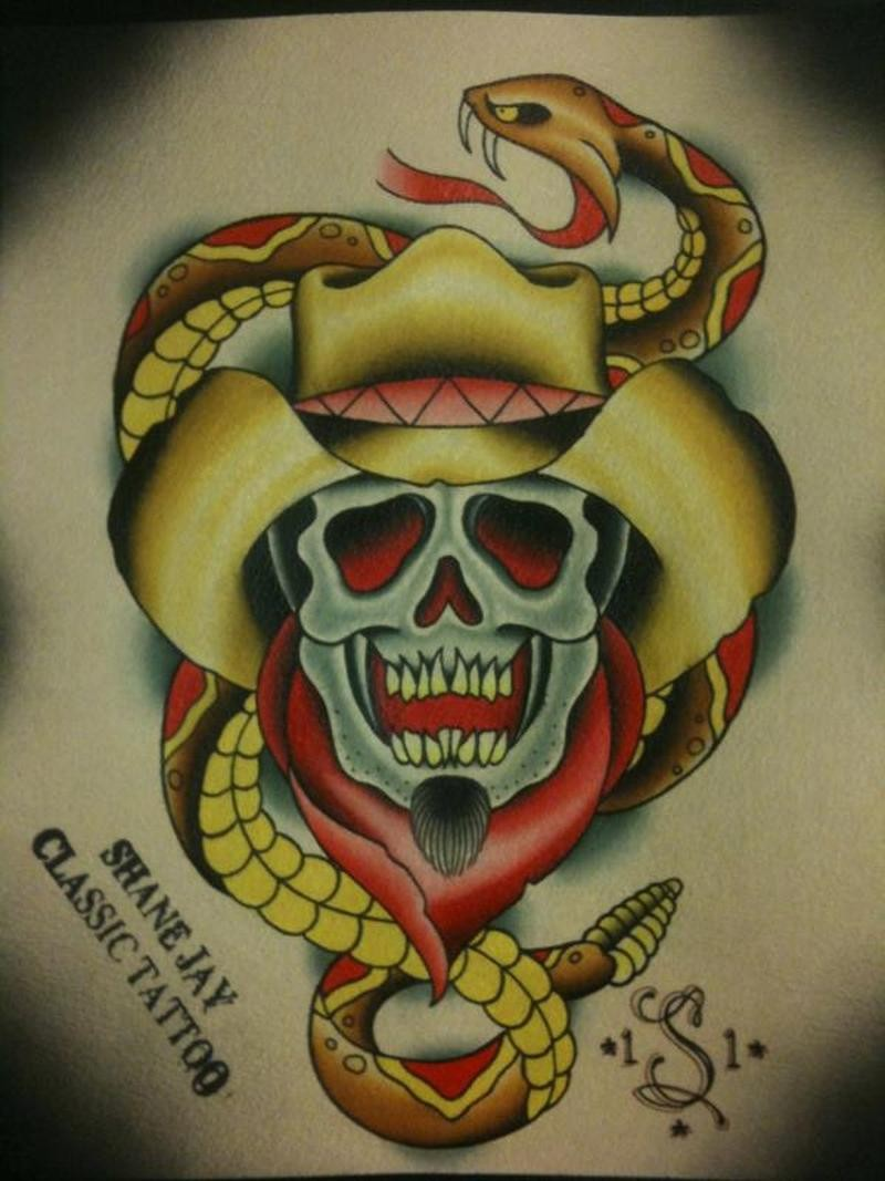 Traditional yellow snake and cowboy skull tattoo design