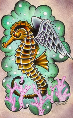 Traditional Yellow Winged Seahorse On Green Cloud Background Tattoo