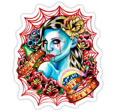 Traditional zombie girl with roses ans banners on net background tattoo design