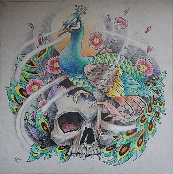Traditonal multicolor peacock sitting on skull and cherry blossom tattoo design
