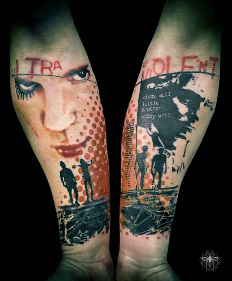 Trash polka style colored forearms tattoo of man portrait and lettering