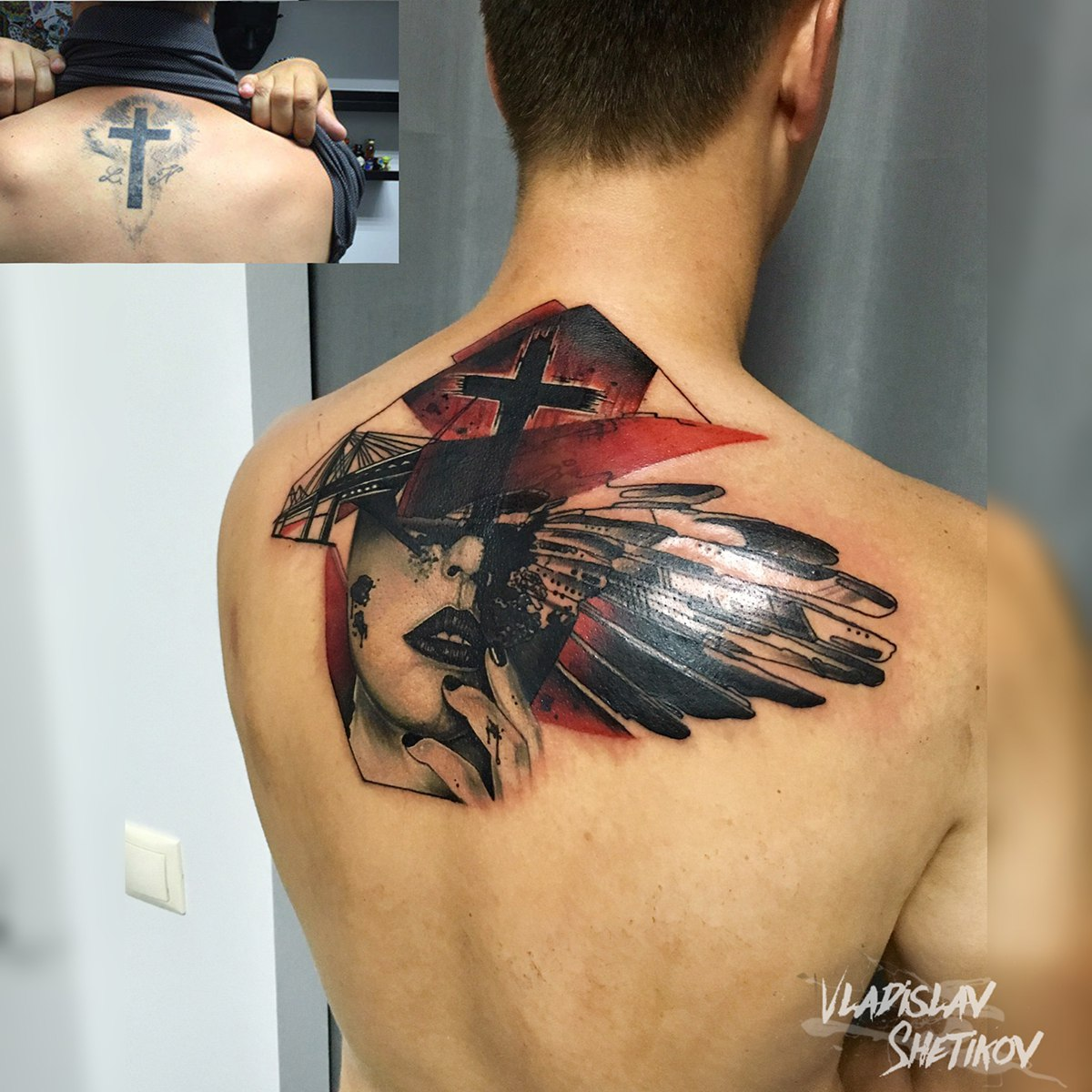Trash polka style tattoo on upper back