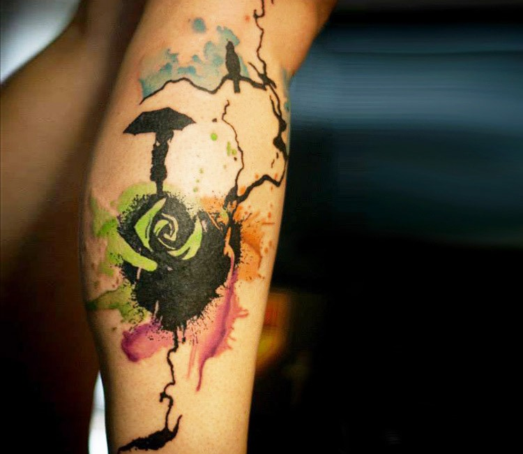 Trash polka watercolor style strange rose shaped tattoo