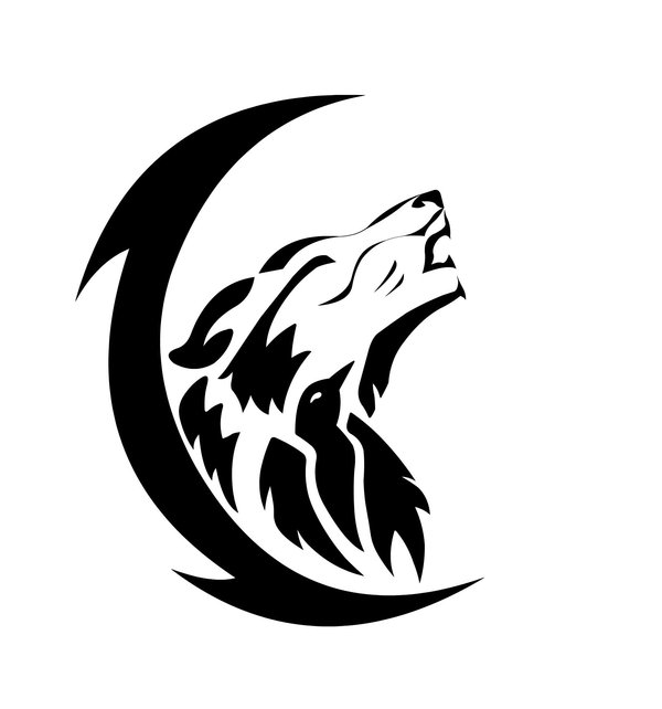 Tribal black-ink howling wolf in thin moon frame tattoo design