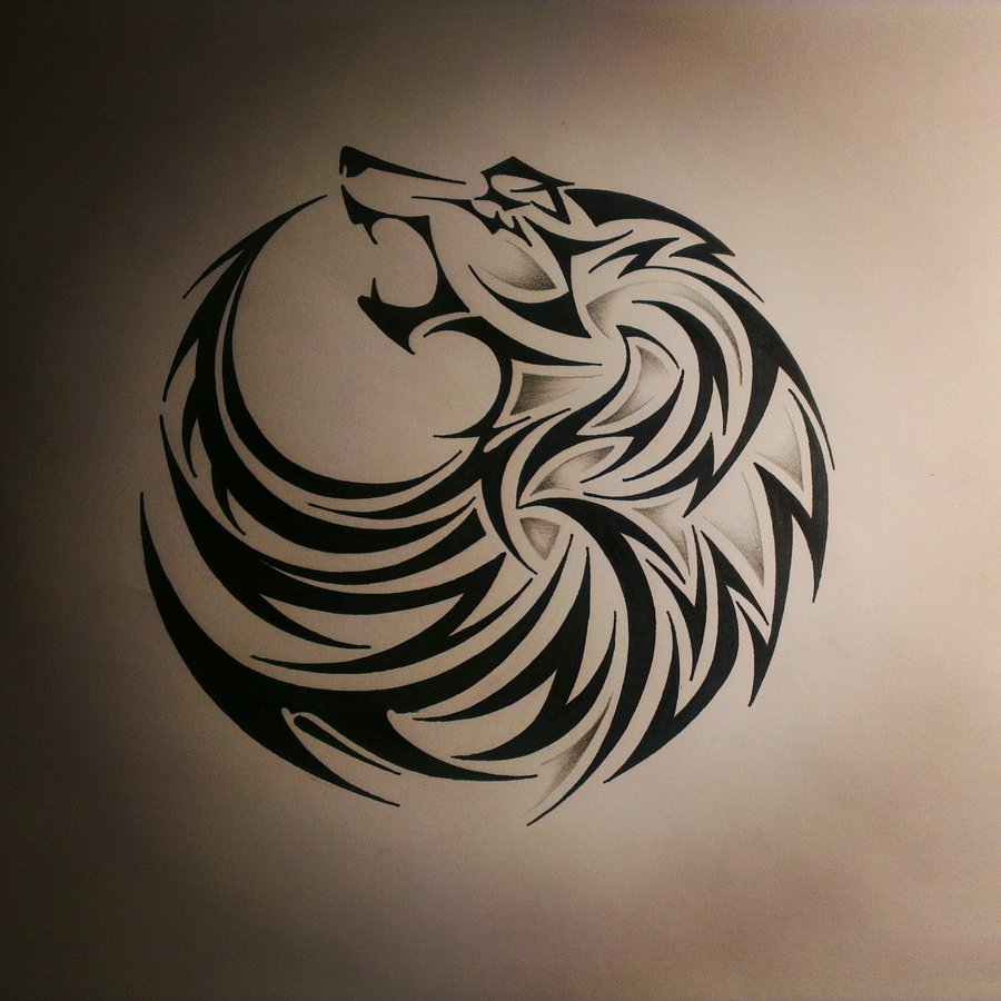 tribal circle shaped howling wolf tattoo design. Black Bedroom Furniture Sets. Home Design Ideas