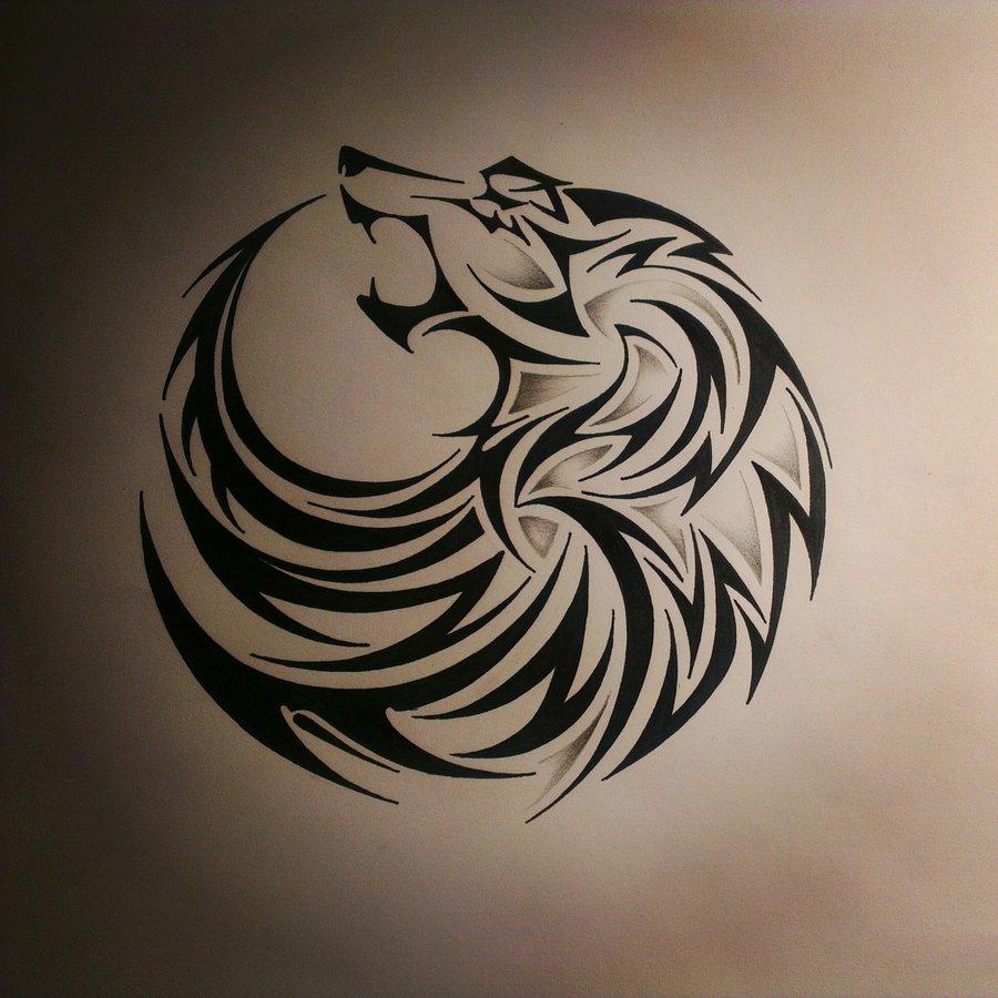 219d797ac Tribal circle-shaped howling wolf tattoo design - Tattooimages.biz