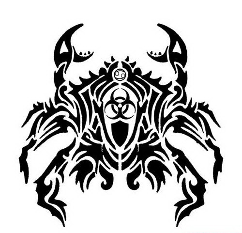 Tribal crab with dangerous atom symbol on its testa tattoo design