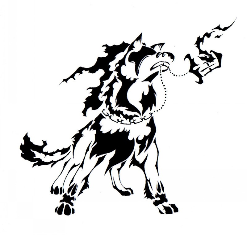 Tribal dog with broken chained street lamp in teeth tattoo design