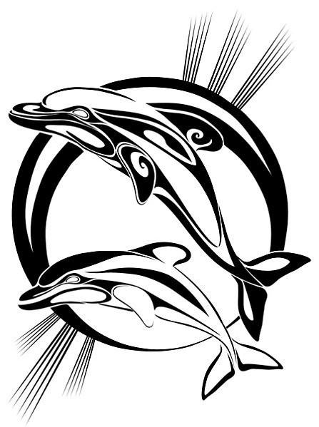 Tribal dolphin couple on black sihing sun background tattoo design