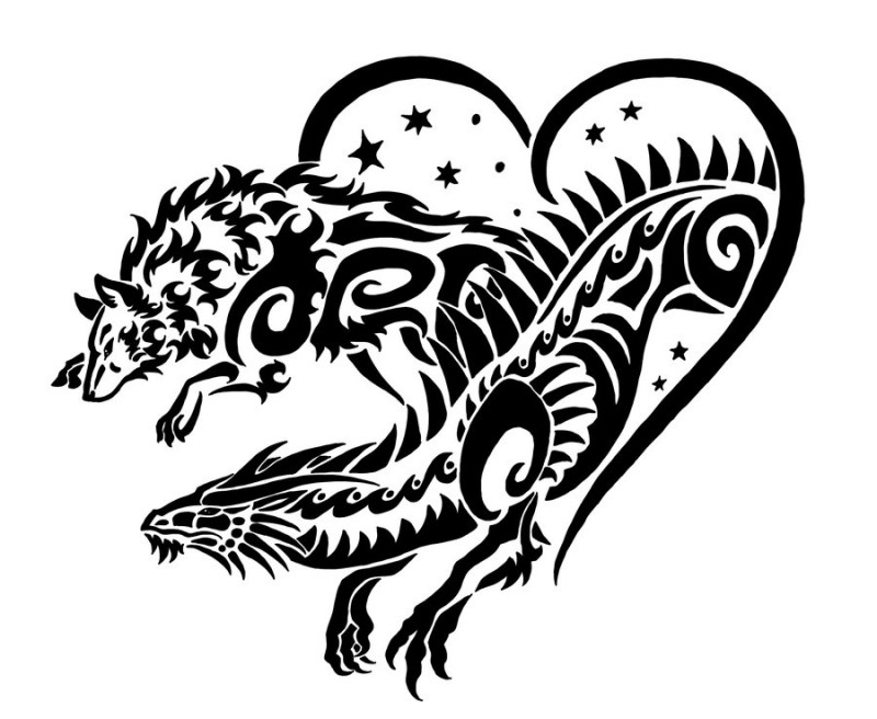 Tribal dragon and wolf running out of heart tattoo design