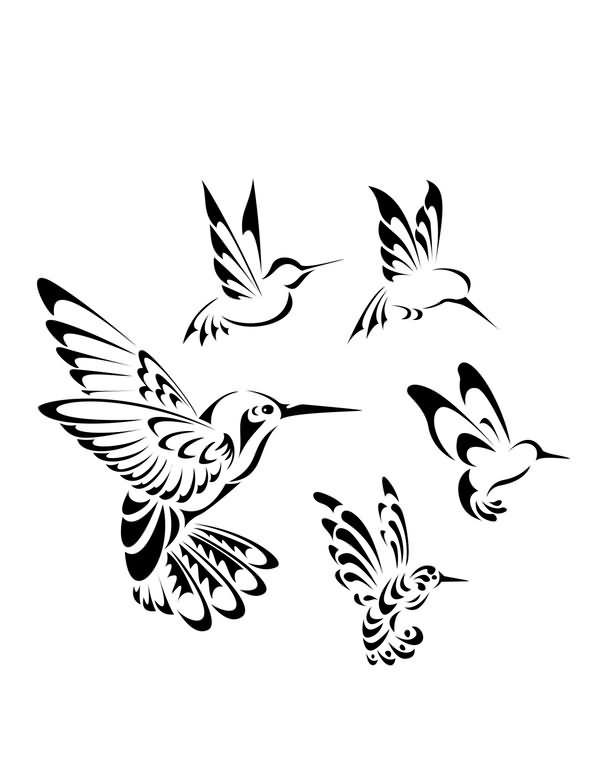 Tribal flying hummingbird circle tattoo design