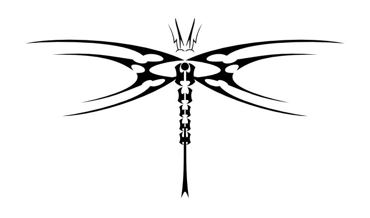 Tribal geometric-line dragonfly tattoo design by Prozac God
