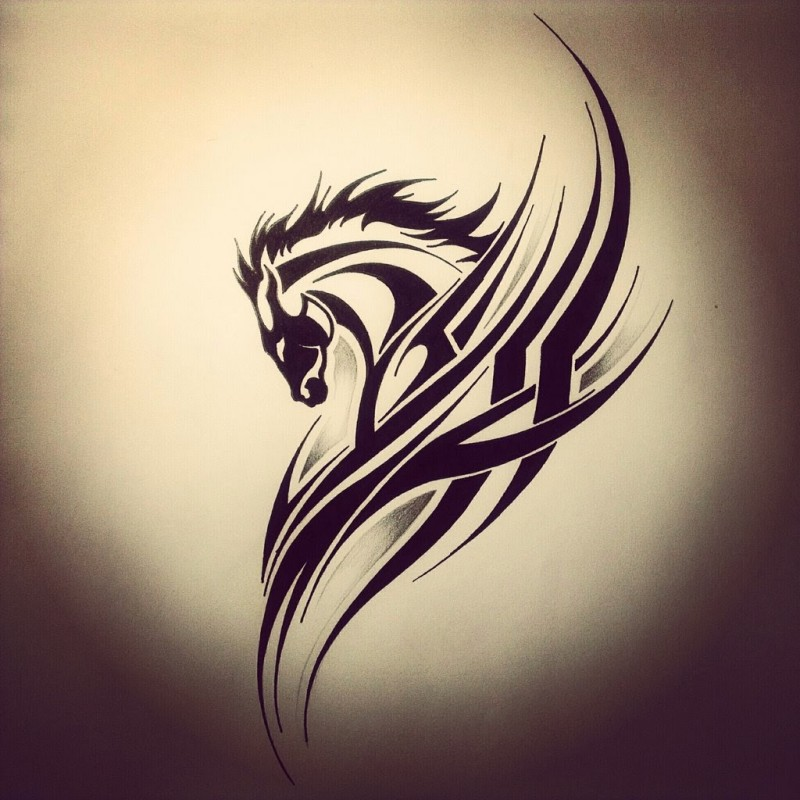 Tribal horse with tribal elements tattoo design
