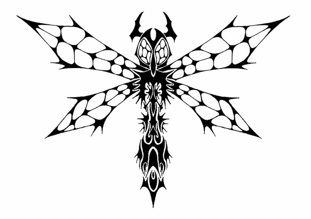 Tribal Huge Eyed Dragonfly Tattoo Design By Dark Cobalt86