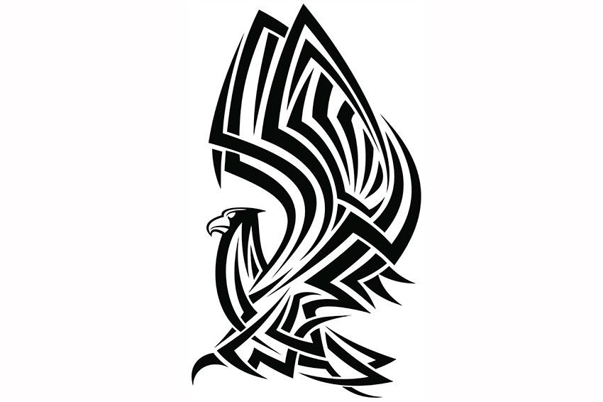 Tribal huge-winged eagle tattoo design