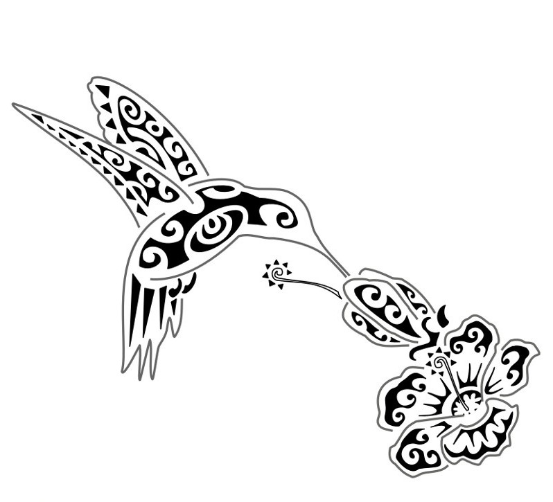 Tribal hummingbird and hibiscus flower tattoo design