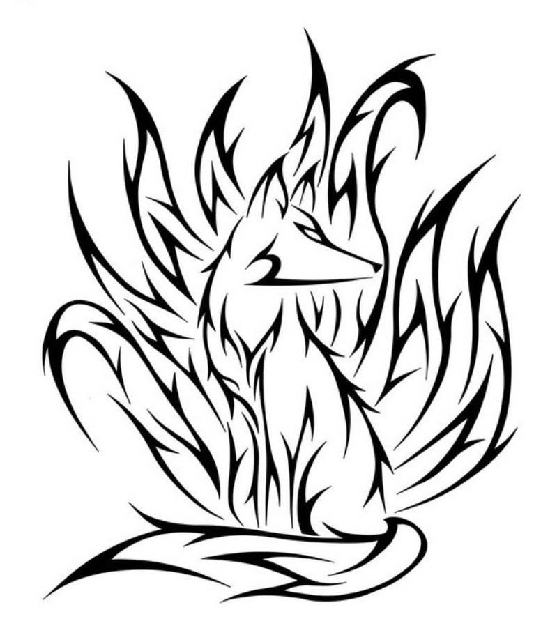 tribal kitsune fox tattoo design. Black Bedroom Furniture Sets. Home Design Ideas