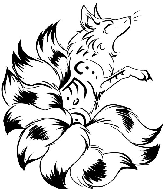 Tribal kitsune fox with nine fluffy tails tattoo by Cunning Fox