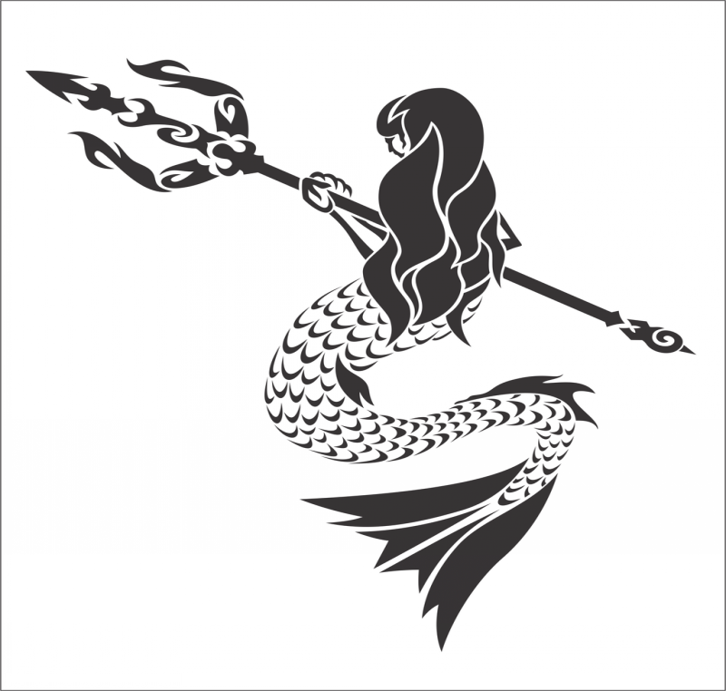 Tribal mermaid warrior with giant trident tattoo design