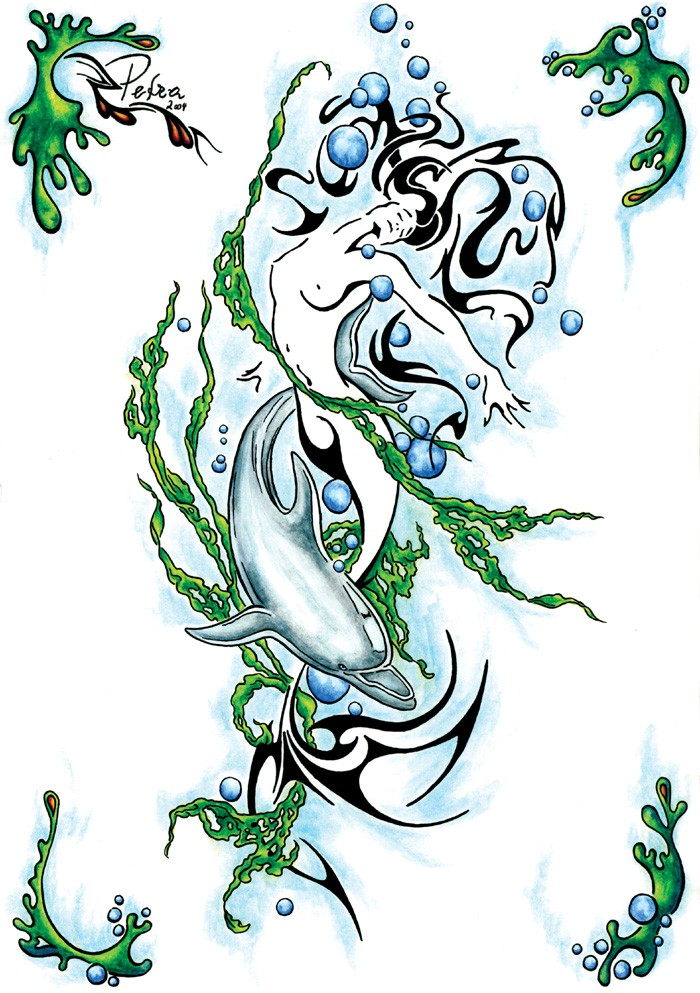 tribal mermaid with a dolphin curled with green weeds tattoo design by evilorchid. Black Bedroom Furniture Sets. Home Design Ideas