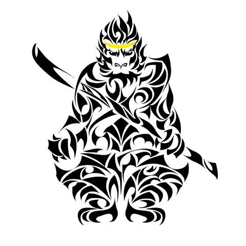 tribal monkey king in golden crown with sword tattoo design. Black Bedroom Furniture Sets. Home Design Ideas