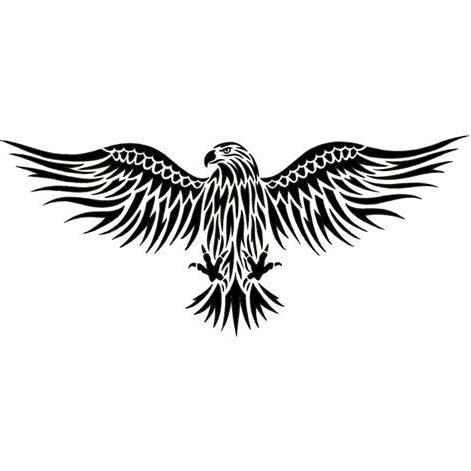 Tribal open-winged eagle emblem tattoo design