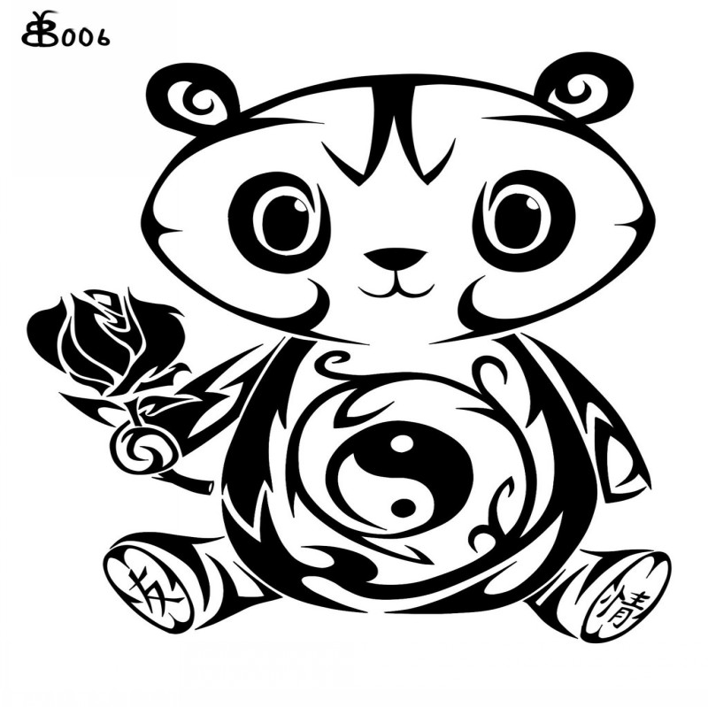 47afb4e80f90d Tribal panda with yin yang print keeping rose tattoo design by Black  Butterfly