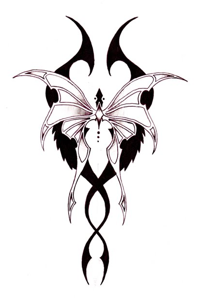 Tribal purple bat-winged butterfly tattoo design