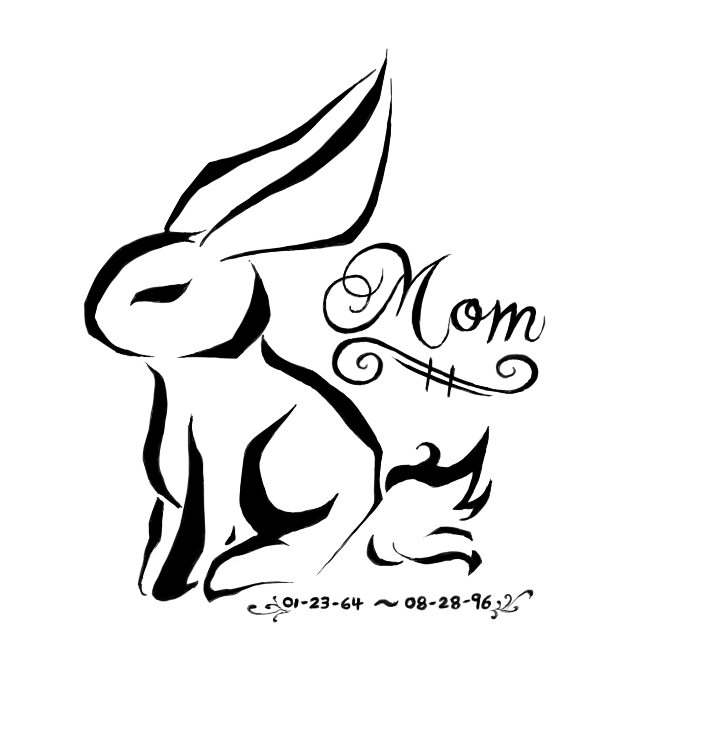 Tribal rabbit with lettering and memorial date tattoo design