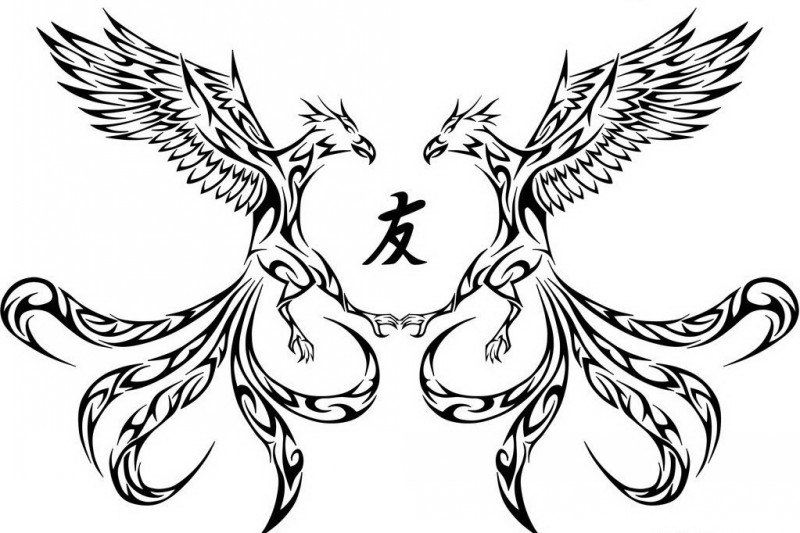 Tribal reflected phoenix with chinese hieroglyph tattoo design