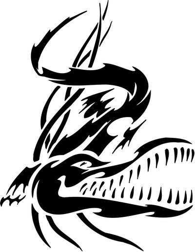 Tribal reptile with huge jaws tattoo design